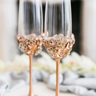 Свадебные бокалы Бриллиантовые цветы. Фужеры на свадьбу 2 шт