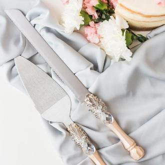 Приборы для свадебного торта Розовый персик. Нож и лопатка в розовом цвете.