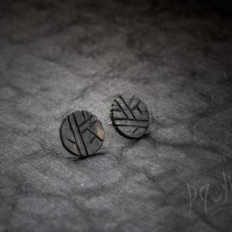 Серьги Месяц с Узором - серьги Луна из дерева, с узором