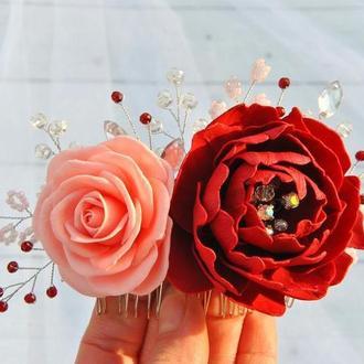 Свадебный гребень для волос с цветами,кристалами и бусинами Веточка в прическу с цветами