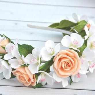 Обруч з весняними квітами яблуні персиковими трояндами Прикраса у зачіску для дівчинки на ранок