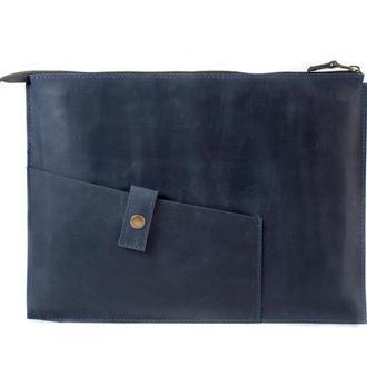 Кожаный чехол для Macbook на молнии. 03006/синий