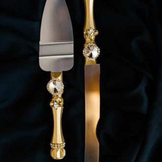 Приборы для свадебного торта Арт деко. Нож и лопатка в золотом цвете