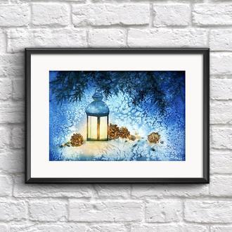 Новогодняя картина акварелью Подарок к Рождеству