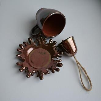 """Набір керамічний для кави""""Крапельки"""". Чашка, блюдце та дзвоник"""