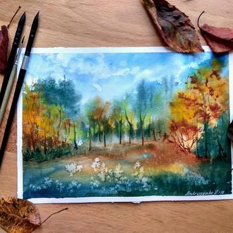 Осенний пейзаж акварелью