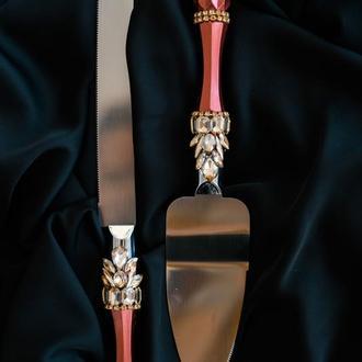 Приборы для свадебного торта Золотистый марсала. Нож и лопатка на свадьбу