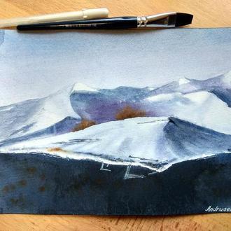 Исландия, пейзаж акварелью