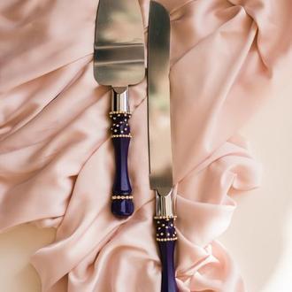 Приборы для свадебного торта Индиго. Нож и лопатка в фиолетовом цвете