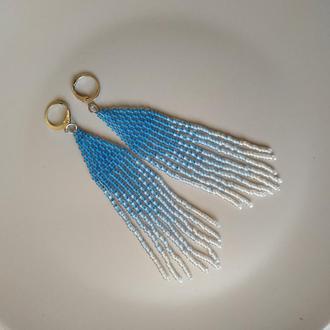 Длинные сережки из бисера. Градиенты. Голубые серьги. Коричневые серьги.