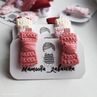 Заколки детские для волос вязаные бантики розовые подарок девочке