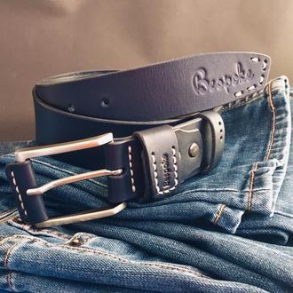 Кожаный мужской ремень(темно-синий)/мужской ремень натуральная кожа/пояс из кожи