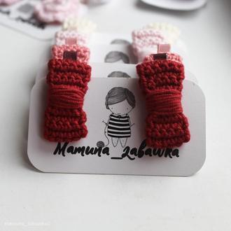 Заколки вязаные бантики бордовые подарок девочке