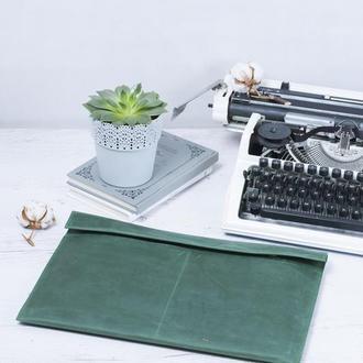 Кожаный зеленый чехол для Macbook на двух кнопках