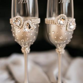 Свадебные бокалы Кристальное сердце. Фужеры на свадьбу в серебряном цвете 2 шт