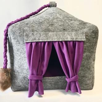 Домик лежанка со съемной подушкой для кота, собаки, лежанка