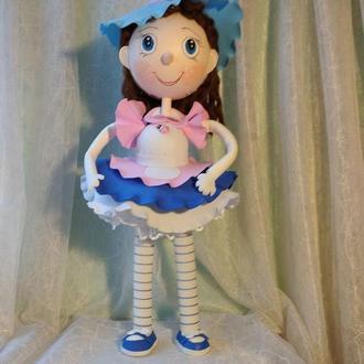 """кукла  из фоамирана """"Голубая шляпка"""""""