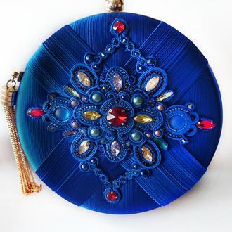 Клатч круглый синий