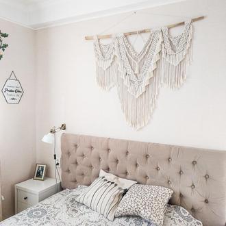 Большое панно макраме - настенный декор над кроватью для спальни