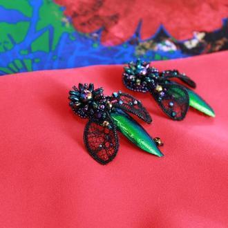 Серьги вечерние праздничные черно-зеленые