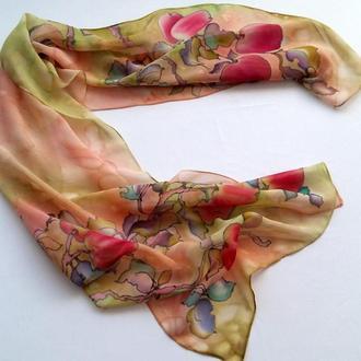 Шелковый шарф Райские яблочки, натуральный шифон