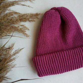 Шапка на осень и зиму, шапка фуксия, теплая, базовая, фуксія шапка базова!