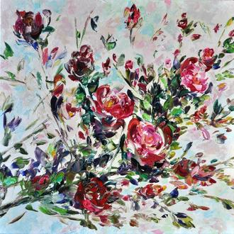 Картина маслом Весенняя свежесть  60х60 см цветы розы