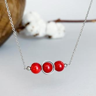 Подвеска из красного коралла. Подвеска в стиле геометрия (модель №591) JK jewelry