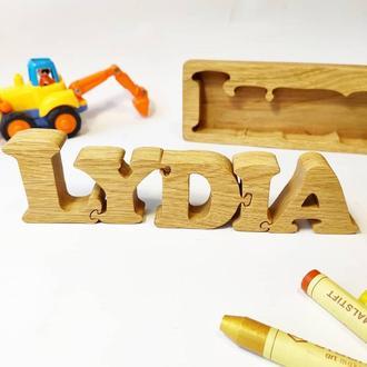 Имя-пазл из дерева Игрушка Монтессори Буквы и цифры из дерева на заказ именной подарок для детей