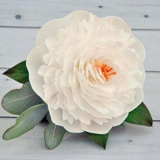 Заколка з білим піоном Шпилька у зачіску нареченої шкільні шпильки з квітами