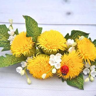 Заколка весенняя одуванчики с ландышами Украшение в волосы с цветами