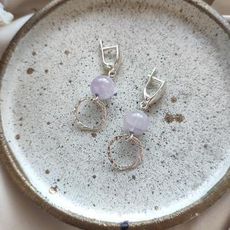 Серебряные сережки с натуральным лавандовим аметистом Круг
