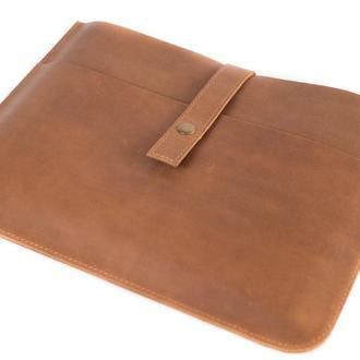Кожаный чехол для Macbook на кнопке. 03004/коньяк