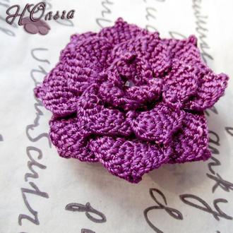 Фиолетовая розочка - брошь крючком