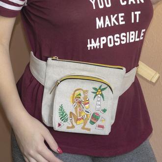 Поясная сумка из Льна с вышивкой Этнос стиль