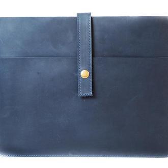 Кожаный чехол для ноутбука ручной работы. 03004/синий