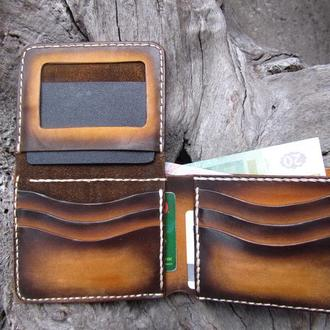 двойной кошелек,кожаный мужской кошелек с окошком для прав,именной кошелек для мужчин,подарок мужу