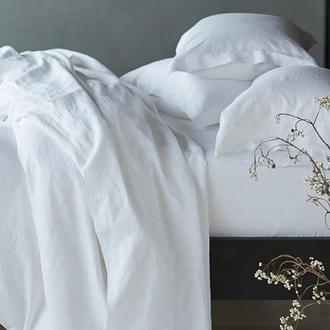 Льняное постельное белье, двойное, комплект постельного белья из льна, белое постельное белье