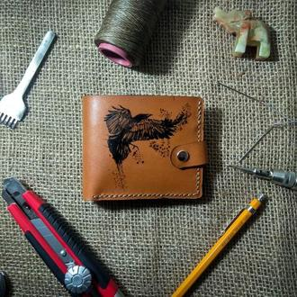 ЭКСКЛЮЗИВНЫЙ кошелек (портмоне) из натральної кожи с рисунком ручной работы. (15)
