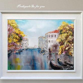 Картина маслом. Венеция Холст на подрамнике 40х50 см. Галерейная натяжка холста.