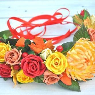 Венок осень Венок с осенними цветами и листьями Желтые красные розы хризантема венок