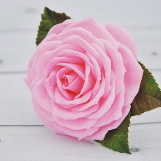 Розовая роза заколка Шпилька для волос с розой Резинки для волос с розами