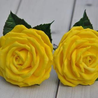 Желтая роза заколка Шпилька для волос с розой Резинки для волос с розами