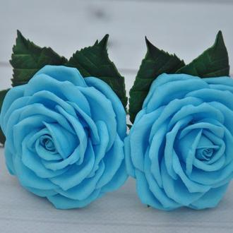 Голубая роза заколка Шпилька для волос с розой Резинки для волос с розами