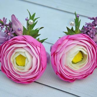 Резинки для волос с цветами Пара резинок с розовыми ранункулюсами фрезиями
