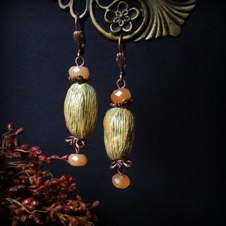 Керамічні сережки з сердоліковими підвісками
