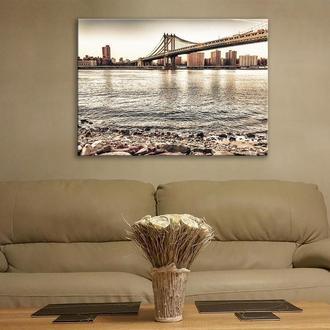 Картина на стекле Бруклинский Мост Нью Йорк 100*70см