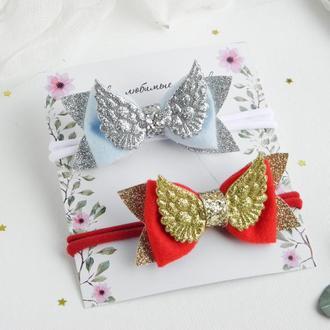 Повязка с крыльями для малышки / Красивая повязочка для девочки / Бантик с крыльями