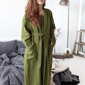 Халат льняной оливковый, кимоно, халат из льна
