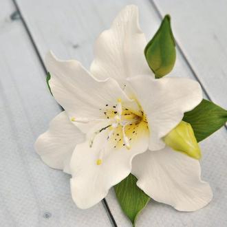 Белая лилия заколка для волос Шпилька для волос цветок лилии с бутонами